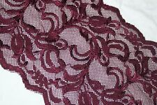 "1 yard dark burgundy wine galloon scalloped STRETCH trim sewing lace 6.5"" wide"