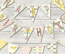 HAPPY BIRTHDAY Bunting-BELLISSIME FARFALLE -18 bandiere!! - BANNER Decorazione