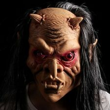 Halloween Latex Ghost Mask + Hair Roleplay Party Costume Devil Evil Head Mask