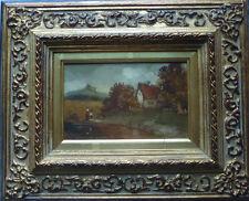 Ölbild F. Lauterbach castillo Bach borde móvil 28x23 cm pinturas 15x10cm