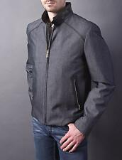 $9K NWT Brioni Navy Blue Lizard Leather Trim Bomber Wool Cotton Jacket Coat 50 M