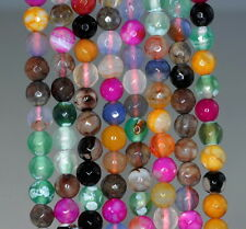 6MM  AGATE GEMSTONE ICE MULTI COLOR FACETED ROUND LOOSE BEADS 14.5""