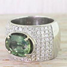 4.00ct NATURAL GREEN SAPPHIRE & 0.98ct DIAMOND COCKTAIL RING - 18k White Gold