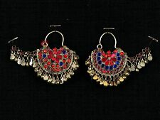 Antique Vintage Afghan Kuchi Tribal Gypsy Style Earrings w/Glass Jewels & Bells