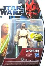 "STAR WARS QUI GON JINN + LIGHTUP LIGHTSABER FIGURE  4""(10cm) + CARD & DICE. BNIB"