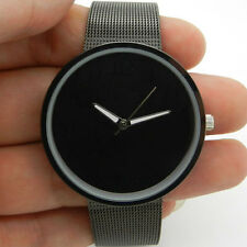 Black Metal Iron Net Mesh Band Quartz Wrist Watch Mens Womens Unisex UK Q1003