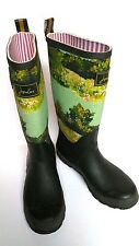 Joules Rain Boots Welly Muck Pull On Green Watercolor Larkdale Women's 9 UK 41