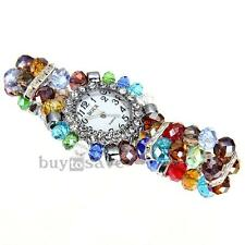 Fashion Ladies Women Beads Band Rhinestone Crystal Bracelet Quartz Wrist Watch