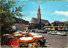 1964 BOLZANO Piazza Walter col Duomo, ombrelloni e auto - ed.Sciliario