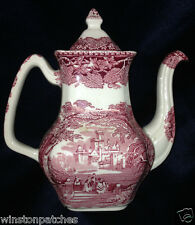 MASONS VISTA PINK COFFEE POT 3 CUPS PINK LEAVES LANDSCAPE ENGLAND