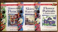 Lot of 3 Collins Learn To Paint Watercolours Watercolors Flowers Skies Pencils