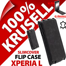 New Krusell Slimcover GENUINE LEATHER Flip Case For Sony Xperia L Vintage Black