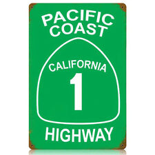 Pacific Coast Highway California 1 CA PCH Road Green Tin Metal Steel Sign 12x18