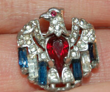 Trifari Sterling  Eagle Brooch, Signed, Inset with Red, Clear & Blue Rhinestones