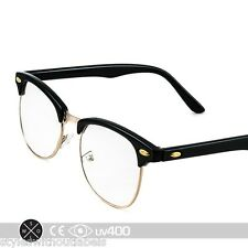 Black Gold Vintage Inspired 80s Clubmaster Clear Lens Hipster Nerd Glasses S012