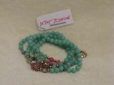 Betsey Johnson Heart Charm Convertible Necklace & Bracelet  - Turquoise Pink NWT