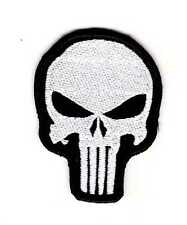 Tactical Army Morale Patch Punisher Skull Silver-Black Color Biker Hook & Loop