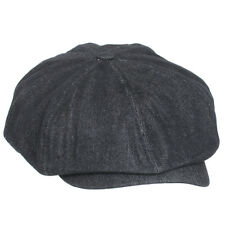 Nw Denim Applejack Newsboy Cabbie Gatsby Golf Cap Paperboy Driving Ivy Hat Black