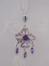 925 Sterling Silver and Amethyst Gemstone Pendant Necklace Jewelry NEW