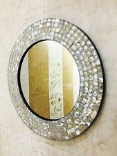 Mother of Pearl Wall Mirror in White- Handmade in India