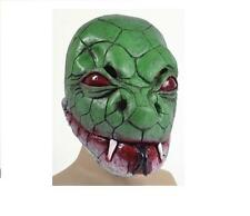 Mens Womens Green Snake Lizard Latex Mask Fancy Dress Animal Fun TV V Movie
