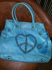 Hearts ♡ BETSEY JOHNSON Turquoise Leather Tote Shoulder Bag  large chain Peace