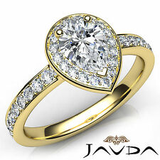 Unique Pear Diamond Engagement GIA H VS1 Halo Pave Ring 18k Yellow Gold 0.95Ct