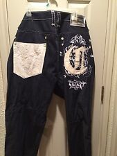Urban Fab Mens Sz 40 Coogi If Luxe Could Kill Jeans Detailed, Leath Embroidery��