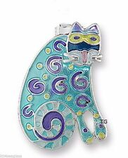 Zarah Zarlite Curlicue Cat CHARM Silver Plated Enamel Jump Ring - Gift Wrap Box