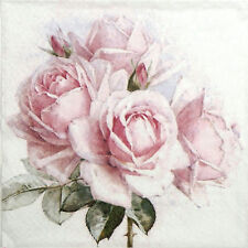 4x Single Table Party Paper Napkins for Decoupage Vintage Pink Roses