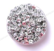 100pcs colourful 6mm cube acrylic letter/alphabet beads 6MM