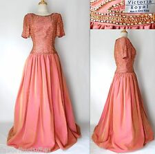 Vintage 80's VICTORIA ROYAL Ball Gown Size 8 Formal Pink Hand Beaded Hong Kong