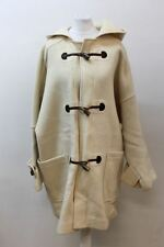 BURBERRY'S LONDON Ladies Cream Wool Long Sleeve Hooded Duffle Coat Approx. XXL