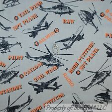 BonEful Fabric FQ Cotton Quilt Black Orange Gray Airplane Air Force Military Spy