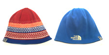 The North Face Reversible Beanie Hat Orange Red Blue Warm One Size Pattern Sale