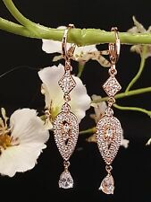 Sparkly Bridal Wedding Rose Gold Micro Pave CZ Hoop Earrings