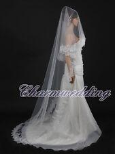 Longueur Chapelle blanc voile de mariage dentelle bord long train accessoires de cheveux Nuptiale