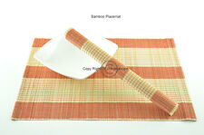4 Bamboo Placemats Handmade Table Mats, Red-Cream (Natural Brown) , P004