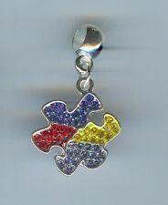 AUTISM PUZZLE PIECE, CRYSTALS fits European/Charm Bracelets, CLIP ON, PET - E176