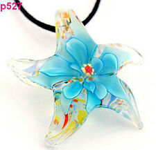 Starfish flower Lampwork Glass Pendant Necklace p527
