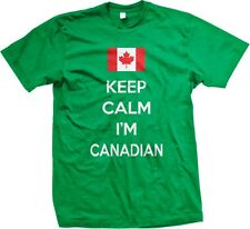 Keep Calm Im Canadian Pride Canada Canadien Maple Leaf Flag Hockey Mens T-shirt
