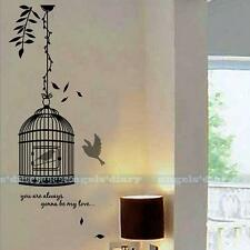 Tree & Bird Cage Removable Vinyl Art Wall Sticker Mural Decal DIY Home Decor
