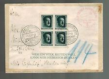 1937 Frankfurt Germany Hindenburg Zeppelin Cover to USA Flight Canceled LZ 129