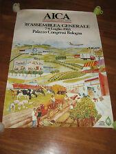 MANIFESTO 1983,ALLEANZA ITALIANA COOPERATIVE AGRICOLE,AICA,BOLOGNA,TRATTORE,AUTO