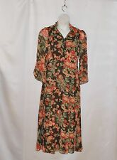 Hot in Hollywood Chiffon Floral Printed Dress Size S Orange Multi