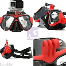 Snorkeling Half Face Mask Goggles Diving Scuba Snorkel w/ GoPro Hero Mount Red