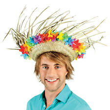 Mens Damas Sombrero de paja fiesta de Felpa Lei hawaiano tonto Fancy Dress Costume New