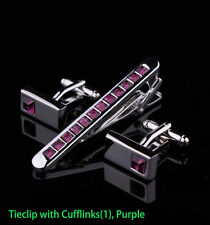 Mens Crystal Silver Chrome Stainless Steel 6.0CM Tie Clip Bars w/Cufflinks Set