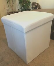 cream OTTOMAN FAUX LEATHER STOOL FOLDING SEAT CHEST FOLDABLE STORAGE BOX FOOT