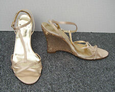 Dolcis Pale Gold Satin Effect Wedge Sandals with Sequin Covered Heels Size 6/39